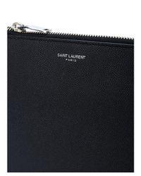 Saint Laurent - Men's Black Leather Clutch for Men - Lyst