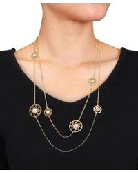 Catherine Malandrino - Metallic 18k Yellow Gold Plated Pearl Swirl Station Necklace - Lyst