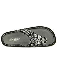 Alegria - Metallic Vanessa Women Open Toe Leather Silver Flip Flop Sandal - Lyst