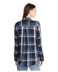Lucky Brand - Blue Button Up Plaid Shirt - Lyst