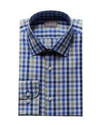 Ike Behar - Blue Tattersall Dress Shirt for Men - Lyst