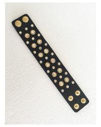Blue Candy Jewelry - Black Cz Leather Cuff - Lyst