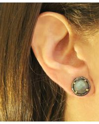 Adornia - Green Labradorite And Champagne Diamond Echo Stud Earrings - Lyst