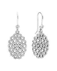 Pandora - Metallic Shimmering Lace Silver Cz Earrings - Lyst