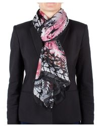 Givenchy   Black Women's Chain Border Floral Pattern Silk Scarf Large   Lyst