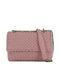 Bottega Veneta - Women's Pink Leather Shoulder Bag - Lyst