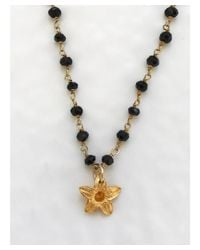 Blue Candy Jewelry - Metallic Gold Flower On Pyrite Necklace - Lyst