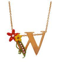 Les Nereides - Metallic Alphabet Fleuri Necklace - Lyst