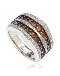 Suzy Levian - Brown And White Cubic Zirconia Sterling Silver Wavy Ring - Lyst