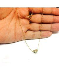 JewelryAffairs - 14k Yellow Gold Sliding Puffed Heart Pendant Necklace, 18 - Lyst