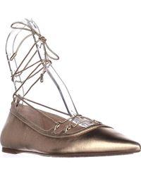 Michael Kors - Metallic Michael Tabby Flat Lace Up Ballet Flats - Pale Gold - Lyst