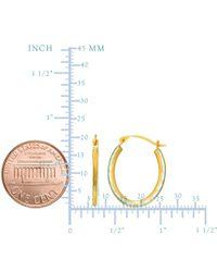 JewelryAffairs - 14k Yellow Gold Alternate Satin Finish Three Sided Oval Hoop Earrings - Lyst