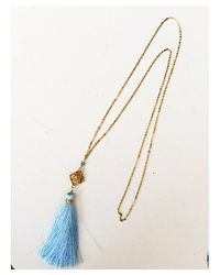 Blue Candy Jewelry | Tassel Light Blue With Gold Filigree Statement Piece | Lyst