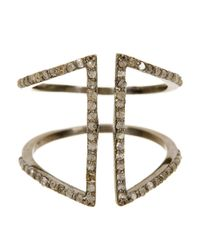 Adornia - Metallic Champagne Diamond And Sterling Silver Berlin Ring - Lyst