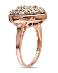 Catherine Malandrino - Pink Heart Shape Rose Druzy Gemstone Cocktail Ring - Lyst