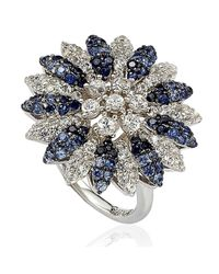 Suzy Levian - Metallic Sapphire And Diamond In Sterling Silver And 18k Gold Logo Ring - Lyst