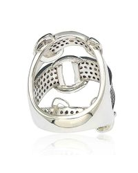 Suzy Levian - Sterling Silver Cubic Zirconia Brown And White Buckle Ring - Lyst