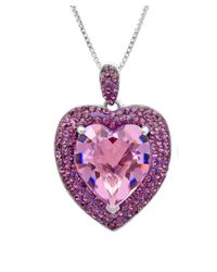 Amanda Rose Collection - Metallic Sterling Silver Crystal Heart Pendant-necklace Made With Swarovski Elements - Lyst