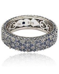 Suzy Levian - Metallic Sterling Silver 5 1/3ct Tgw Sapphire And Diamond Accent Eternity Pave Ring - Lyst