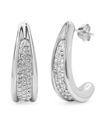 Amanda Rose Collection - Metallic Sterling Silver Crystal J-hoop Earrings With Swarovski Crystals - Lyst