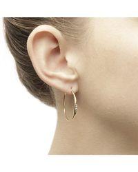 Jewelista - Diamond Hoop Earrings In 14k Yellow Gold - Lyst