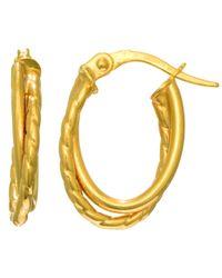 JewelryAffairs - 14k Yellow Gold Double Row Oval Hoop Earrings - Lyst