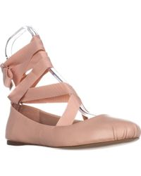 BCBGeneration | Pink Talia Lace Up Ballet Flats | Lyst