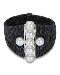 Catherine Malandrino - Black Woven Cuff Bracelet With Freshwater Cultured Pearls - Lyst