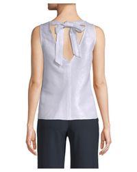 Armani Exchange - Blue Metallic Tie Top - Lyst