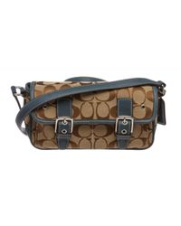 COACH - Natural Pre Owned - Beige Blue Canvas Leather Small Crossbody Bag - Lyst