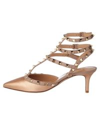 Valentino - Natural Rockstud Metallic Leather Ankle Strap Pump - Lyst