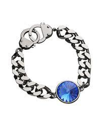 Eklexic - Metallic Sapphire Crystal Curb Chain & Handcuff Clasp Bracelet (silver / Sapphire) - Lyst