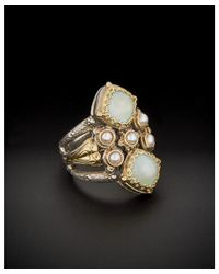 Konstantino - Multicolor Amphitrite 18k & Silver 3.00 Ct. Tw. Agate & 3mm Pearl Ring - Lyst