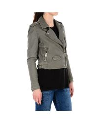 IRO - Women's Green Leather Outerwear Jacket - Lyst