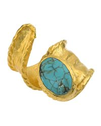 Jewelista - Blue 18k Gold Plate Adjustable Turquoise Ring - Lyst