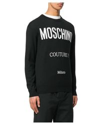 Moschino - Black Logo Intarsia-knit Sweater for Men - Lyst