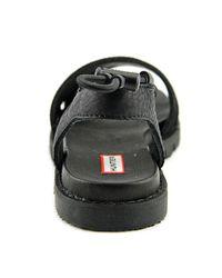 Hunter - Original Sandal Slide Women Open-toe Leather Black Sport Sandal - Lyst