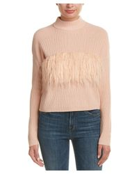 Kendall + Kylie | Multicolor Fuzzy Trim Wool Sweater | Lyst