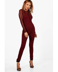 fd53d93d90 Boohoo Structured Cut Out Mesh Detail Jumpsuit in Red - Lyst