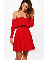 615c4098759d Lyst - Boohoo Marissa Off Shoulder Skater Dress in Red