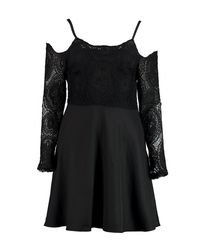 Boohoo - Black Boutique Pam Cord Lace Top Skater Dress - Lyst