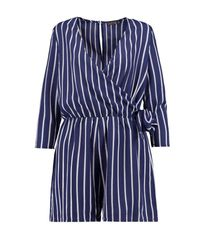Boohoo - Blue Strapped Wrap Over Playsuit - Lyst
