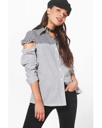 Boohoo - Multicolor Helena Striped And Gingham Ruffle Shoulder Shirt - Lyst