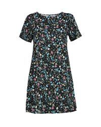 Boohoo - Black Aiyana Floral Printed Woven Shift Dress - Lyst