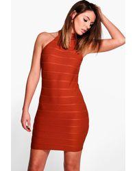 Boohoo - Multicolor Kasey High Neck Bandage Bodycon Dress - Lyst
