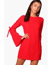 Boohoo - Red Tall Sophia Tie Sleeve Panel Woven Shirt Dress - Lyst