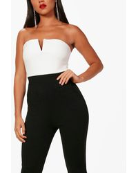 Boohoo - Red Bandeau Contrast Jumpsuit - Lyst