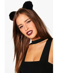 Boohoo - Black Freya Knitted Pom Mouse Ears Headband - Lyst