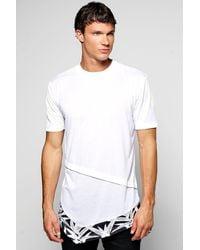 Boohoo - Black Longline T Shirt With Asymmetric Hem Shape for Men - Lyst