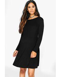 302d4ab98837 Lyst - Boohoo Maternity Long Sleeve Swing Dress in Black